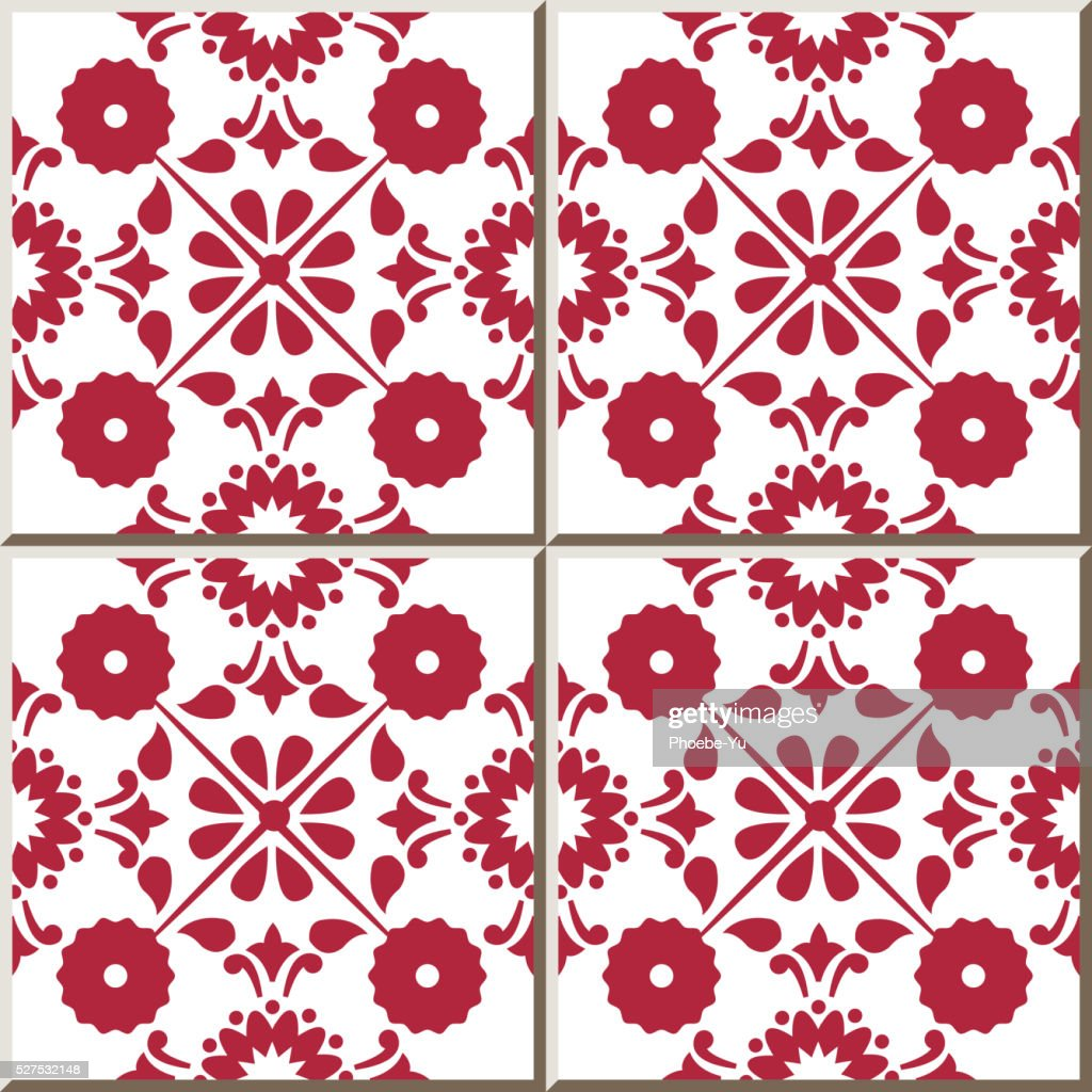 Ceramic Tile Pattern 321 Cross Round Vintage Red Flower High Res Vector Graphic Getty Images
