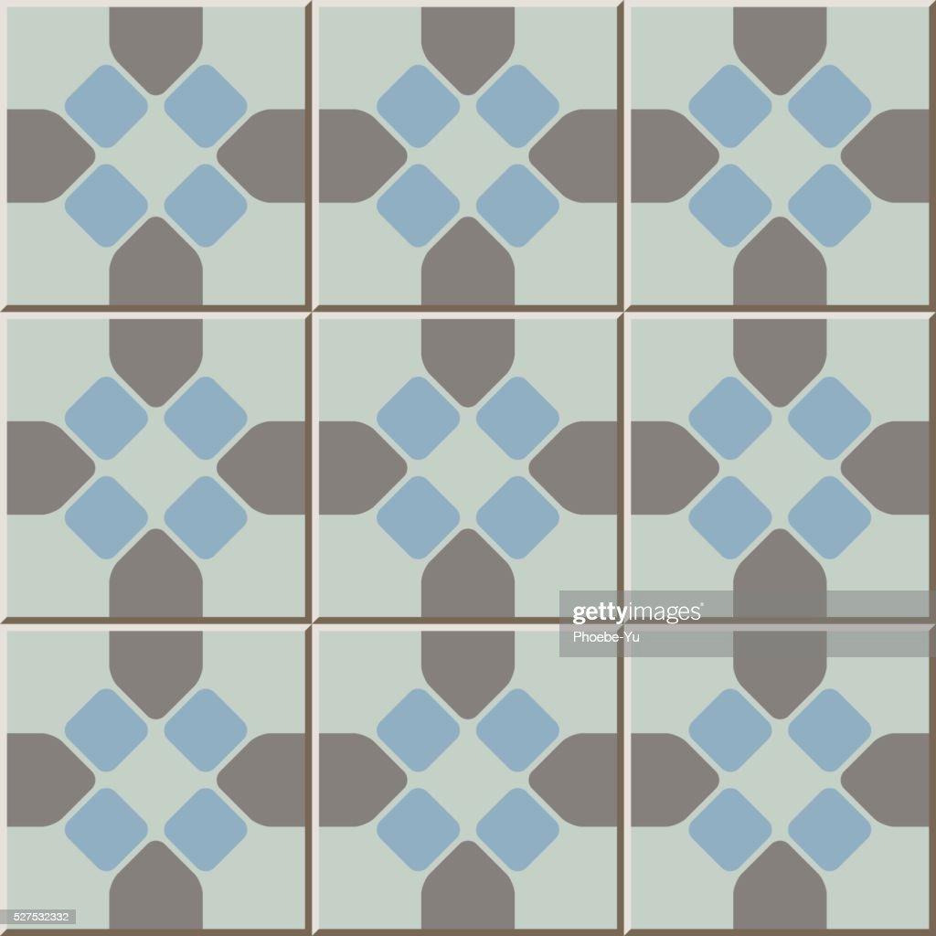 Ceramic Tile Pattern 334 Round Corner Octagon Cross Geometry Vector