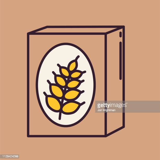 cereal box- thin line breakfast icon - breakfast cereal stock illustrations, clip art, cartoons, & icons