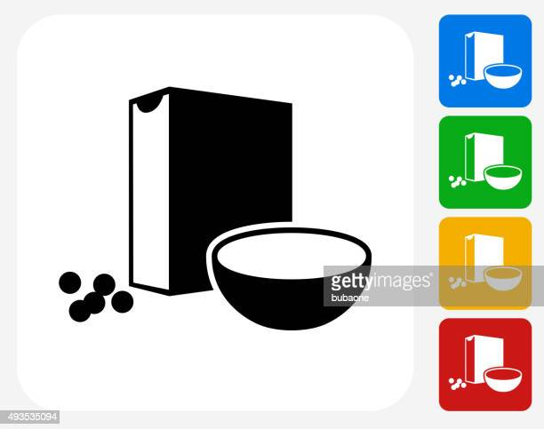cereal icon flat graphic design - breakfast cereal stock illustrations, clip art, cartoons, & icons