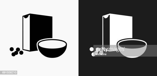 cereal icon on black and white vector backgrounds - breakfast cereal stock illustrations, clip art, cartoons, & icons