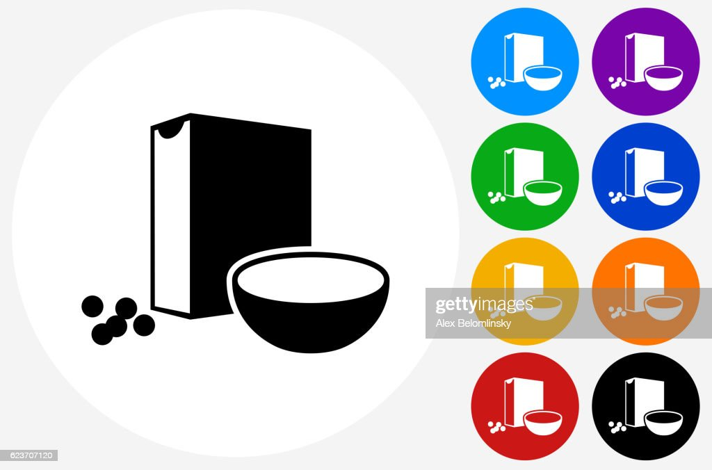 Cereal Icon on Flat Color Circle Buttons : stock illustration