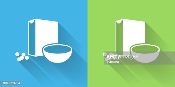 cereal icon with long shadow - breakfast cereal stock illustrations, clip art, cartoons, & icons