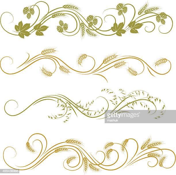 cereal plant ornament - barley stock illustrations, clip art, cartoons, & icons