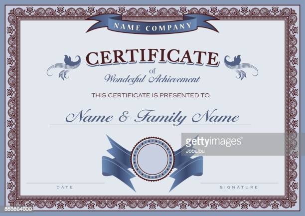 certificate achievement classic border - vintage stock stock illustrations