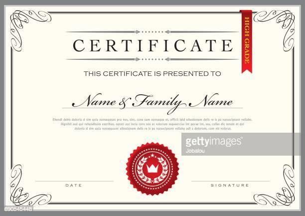 certificate achievement diploma - vintage stock stock illustrations
