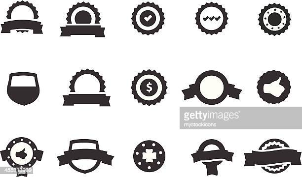 certificate and badges icons - approval stock illustrations, clip art, cartoons, & icons