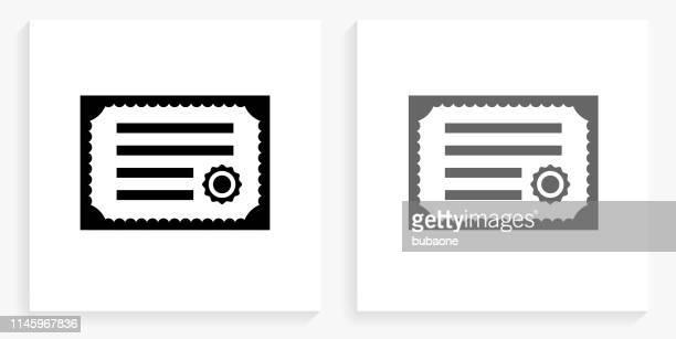 illustrations, cliparts, dessins animés et icônes de icône de carré noir et blanc de certificat - permis de conduire