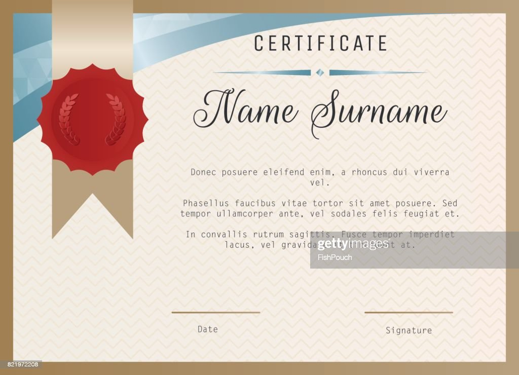 certificate blank template vector with wax seal stamp vector art