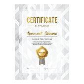 Certificate design, abstract silver background, layout for text placement, creative template for awarding