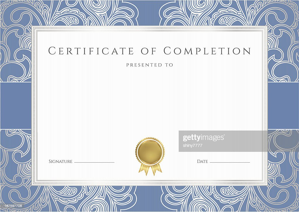 Certificate / Diploma (template). Award background with blue border. Floral pattern