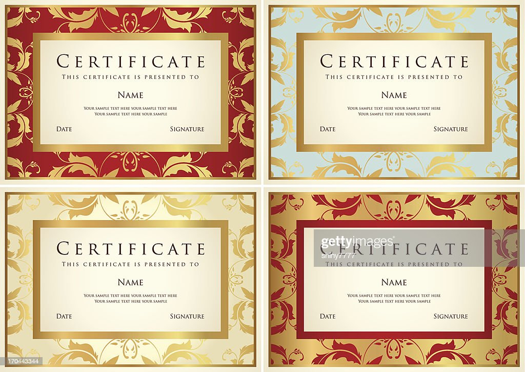 Certificate / Diploma / Coupon (template). Award background design (floral frame, border)