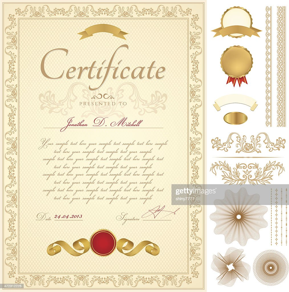 Certificate / Diploma / Coupon (template). Award background (frame, border, Guilloche pattern)
