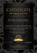 Certificate, Diploma (golden design template, background with floral, filigree pattern, scroll border, gold frame