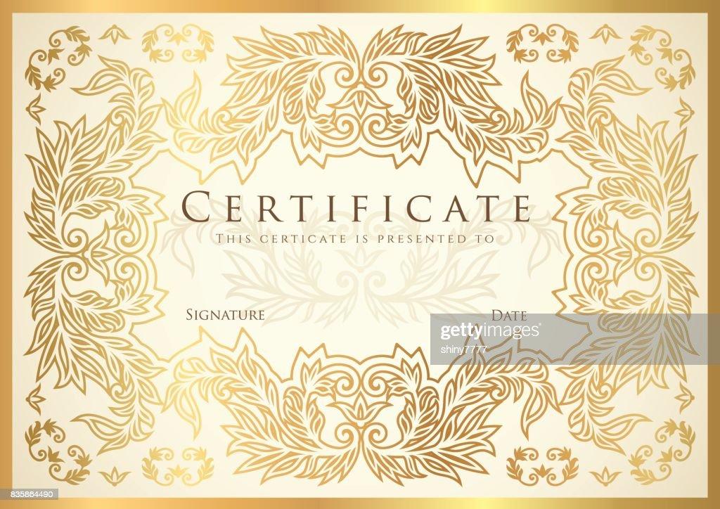 Zertifikat Abschlusszeugnis Goldene Blumenmuster Rand Rahmen ...
