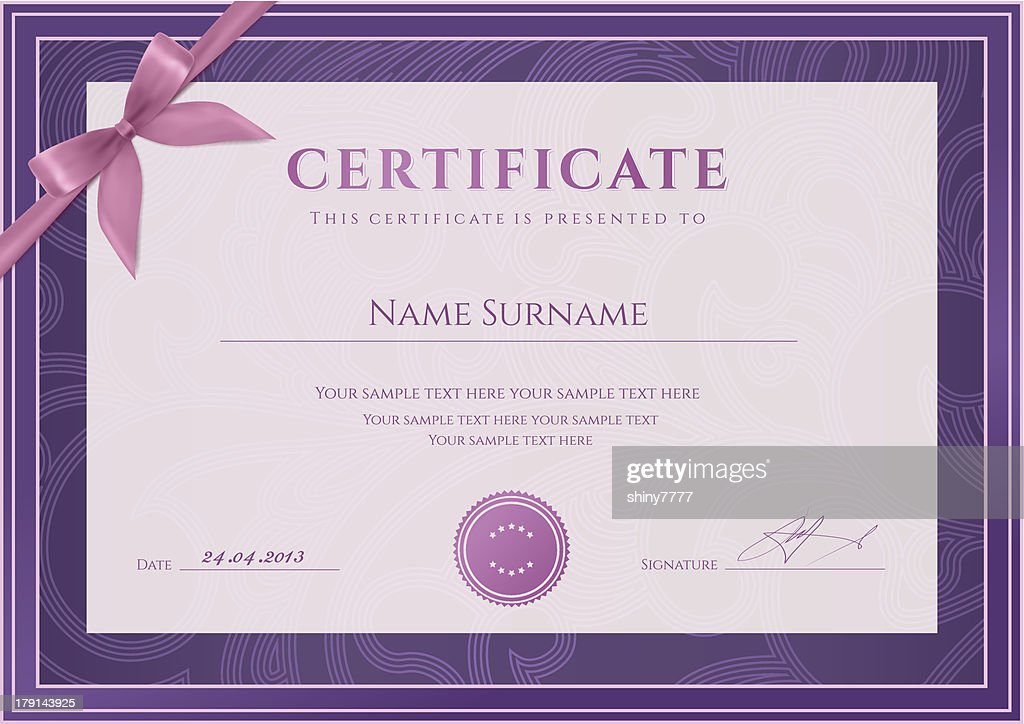 Certificate / Diploma template (coupon). Award background design (floral pattern, bow)