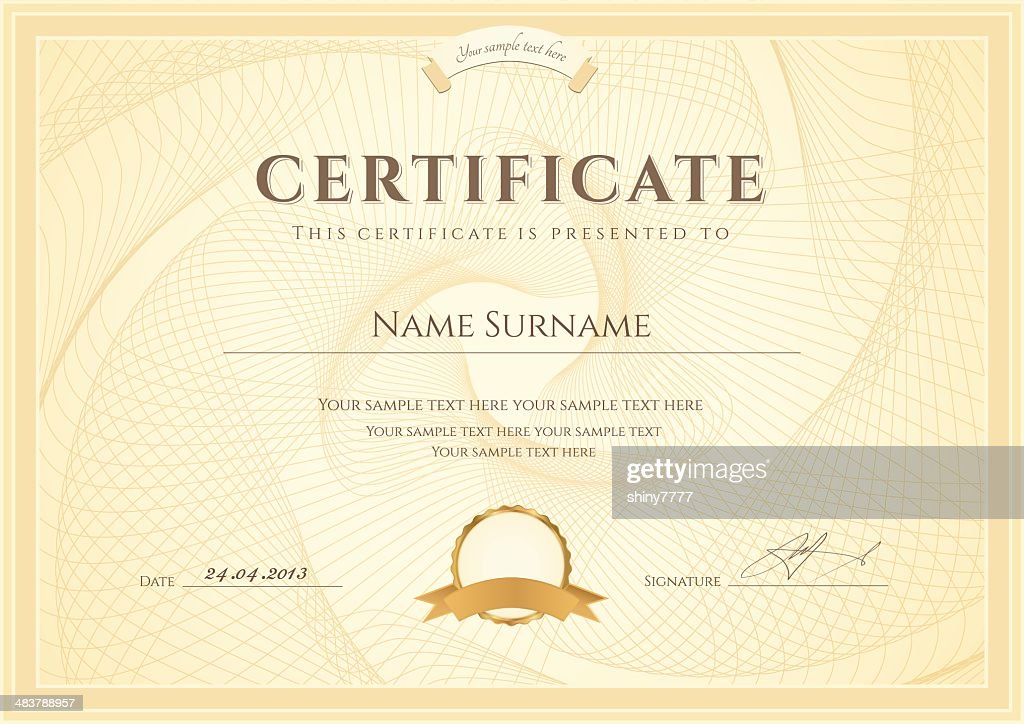 Certificate / Diploma template. Award (coupon) background design with guilloche pattern