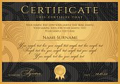 Certificate / Diploma template. Black award background design, guilloche pattern, border