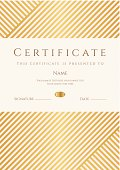 Certificate / Diploma template (coupon). Gold award background (stripy, lines pattern)