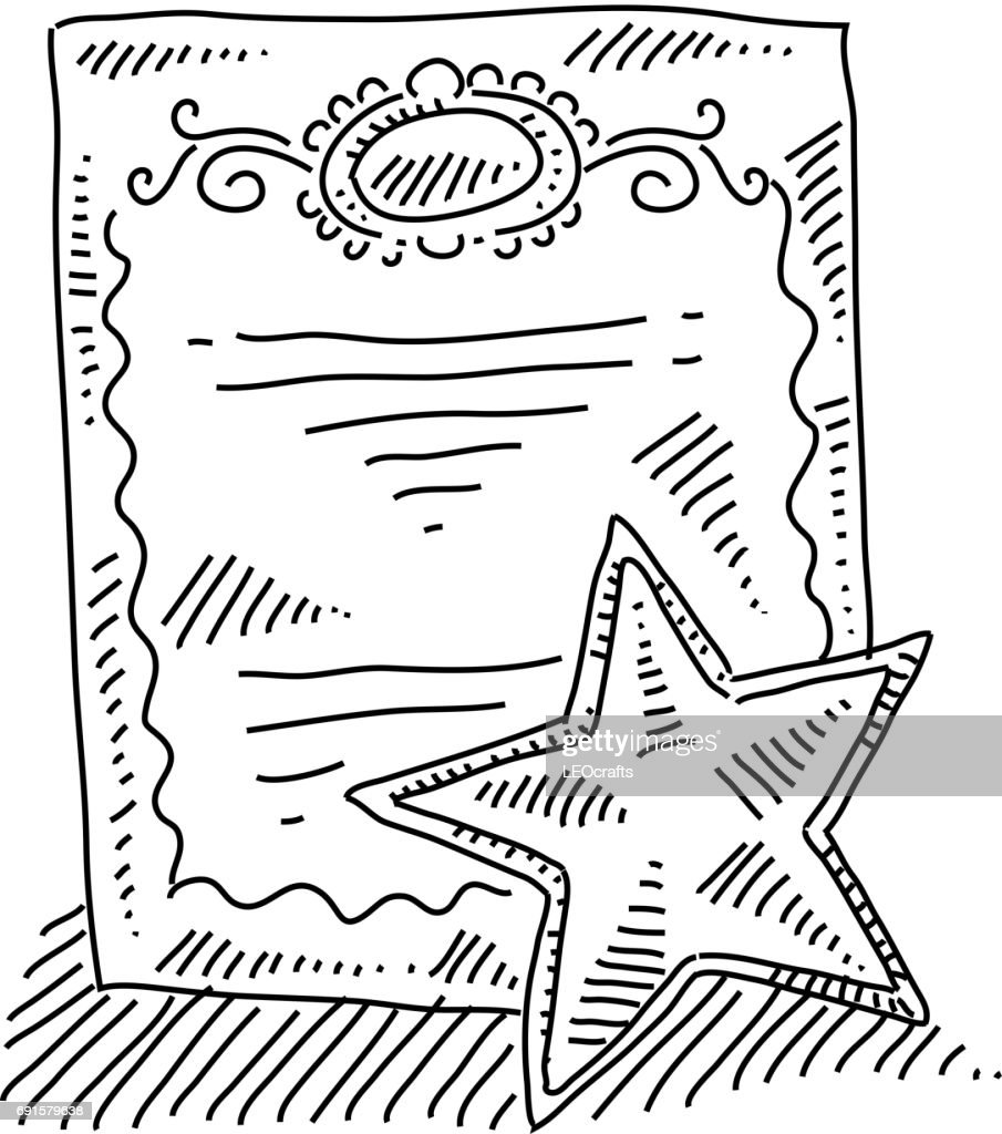 Certificate Drawing Vector Art Getty Images