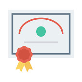 certificate Flat Vector Icons