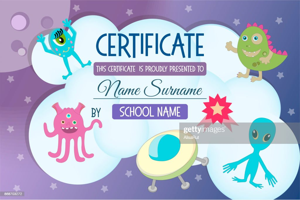 Certificate for a kids teaching game on the theme of space