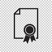 Certificate icon. Diploma symbol. Flat vector illustration on isolated background.