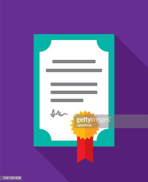 certificate icon flat 2 - stock certificate stock illustrations