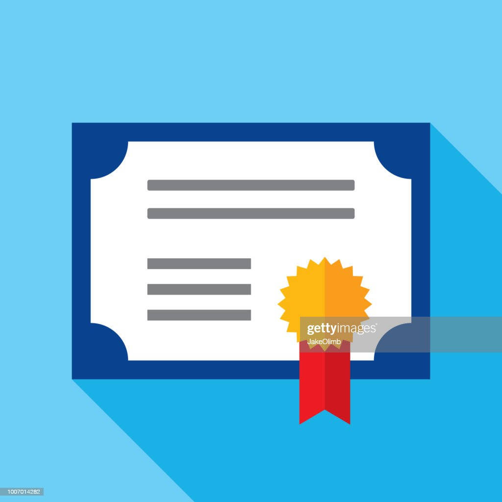 Certificate Icon Flat : stock illustration
