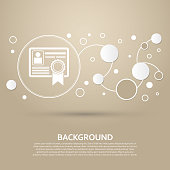 certificate icon on a brown background with elegant style and modern design infographic. Vector