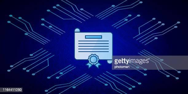 青い回路基板の背景に証明書アイコン。 - エレクトロニクス産業点のイラスト素材/クリップアート素材/マンガ素材/アイコン素材