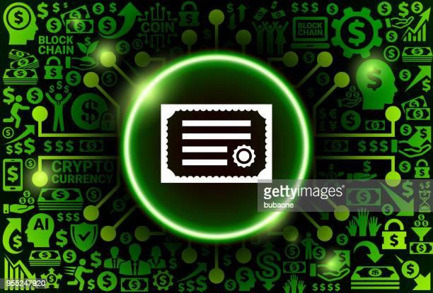 illustrations, cliparts, dessins animés et icônes de icône de certificat sur l'argent et fond de cryptocurrency - permis de conduire