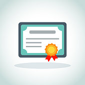 certificate icon on white background