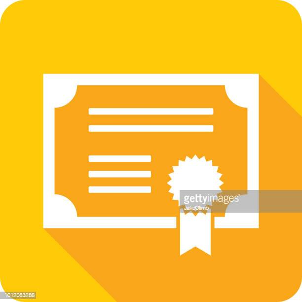 certificate icon silhouette - stock certificate stock illustrations