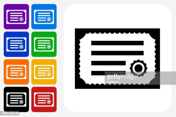 illustrations, cliparts, dessins animés et icônes de jeu de bouton certificat icône carré - permis de conduire