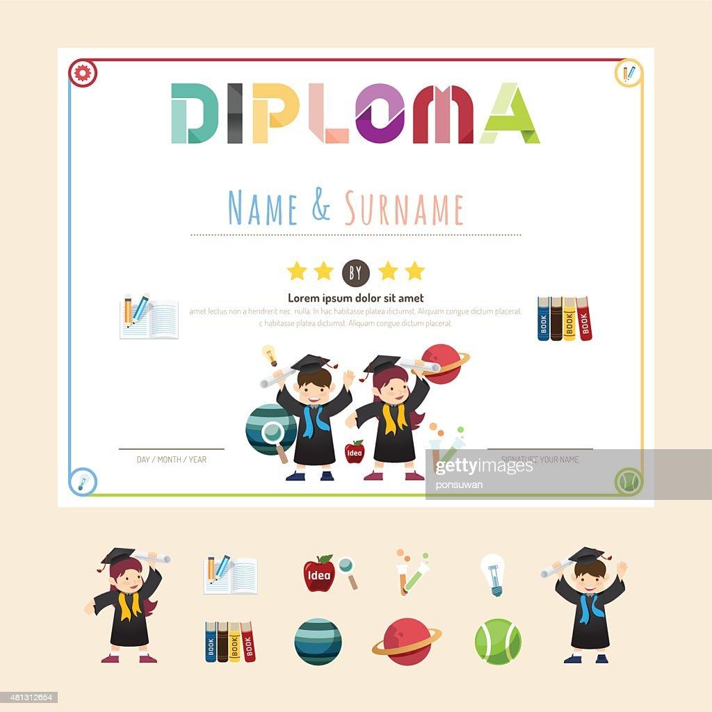 Certificate kids diploma, kindergarten template layout backgroun