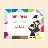 Certificate kids diploma, kindergarten template layout backgroun