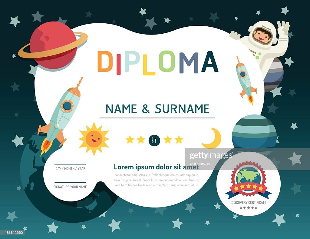 Certificate kids diploma, kindergarten template layout space bac
