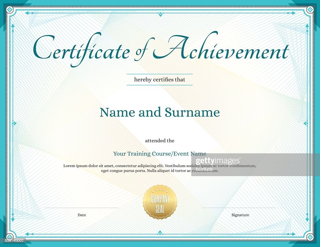 Certificate of achievement template in vector for achievement