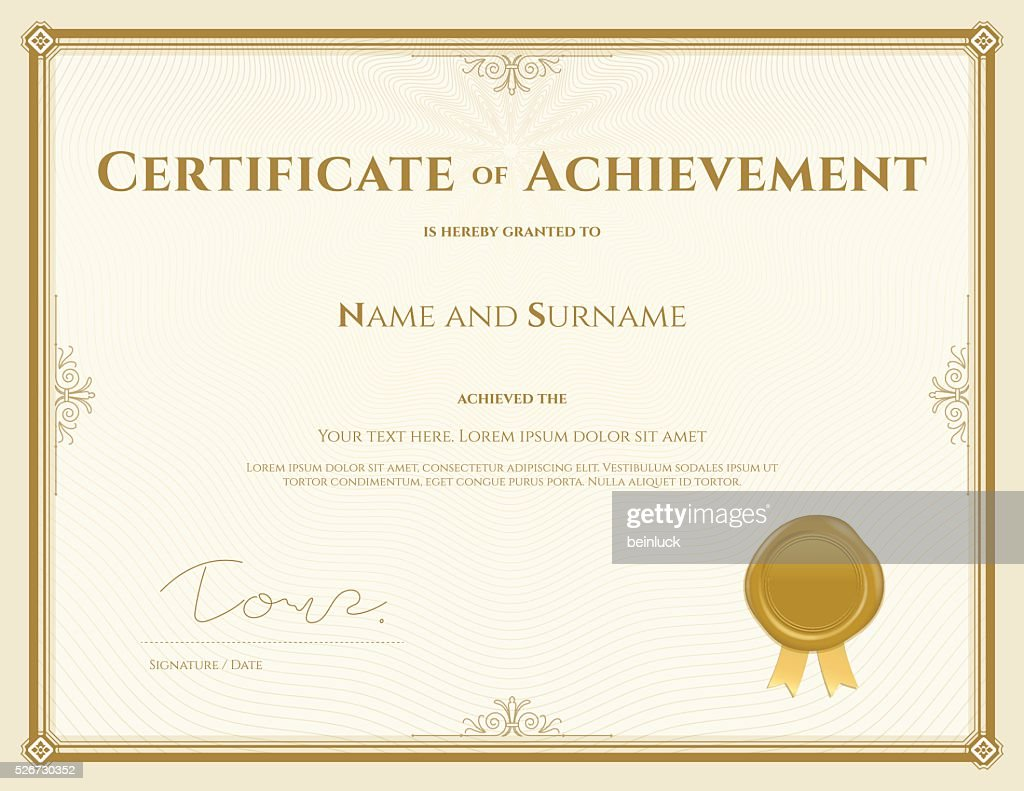 Certificate of achievement template in vector gold theme
