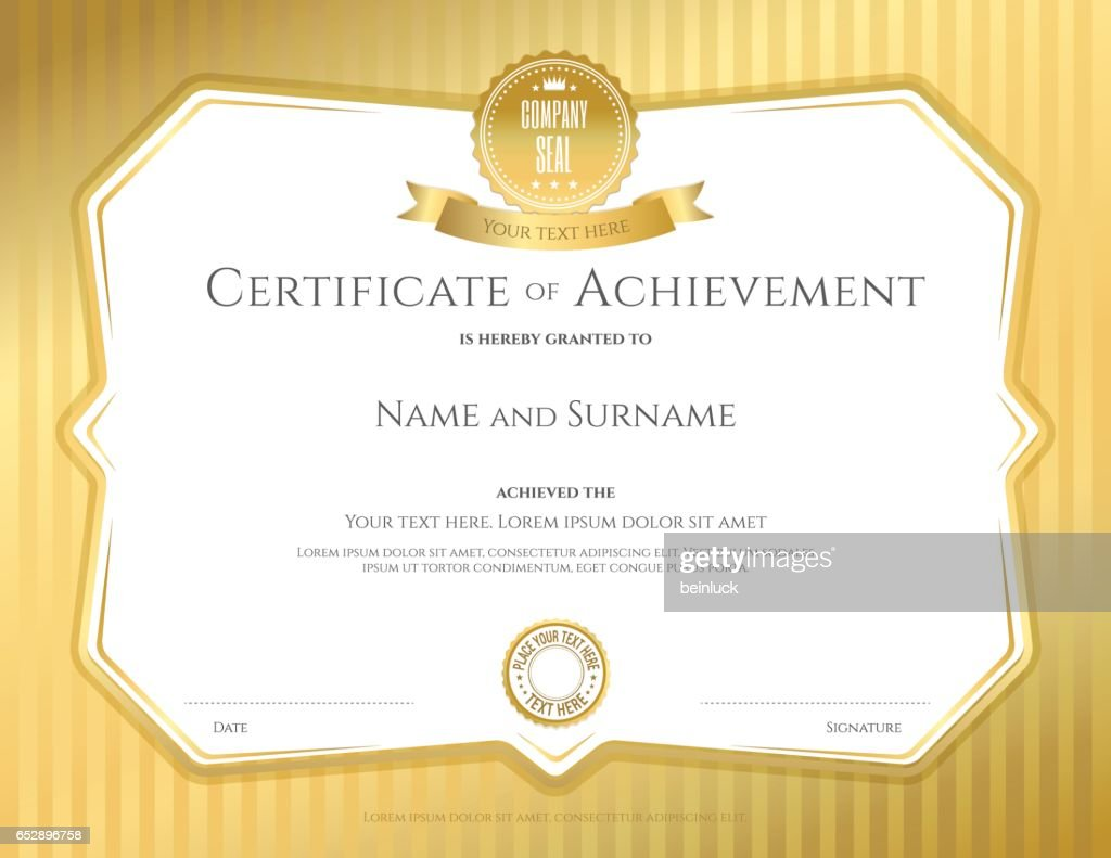Certificate Of Achievement Template In Vector With Applied Thai Art
