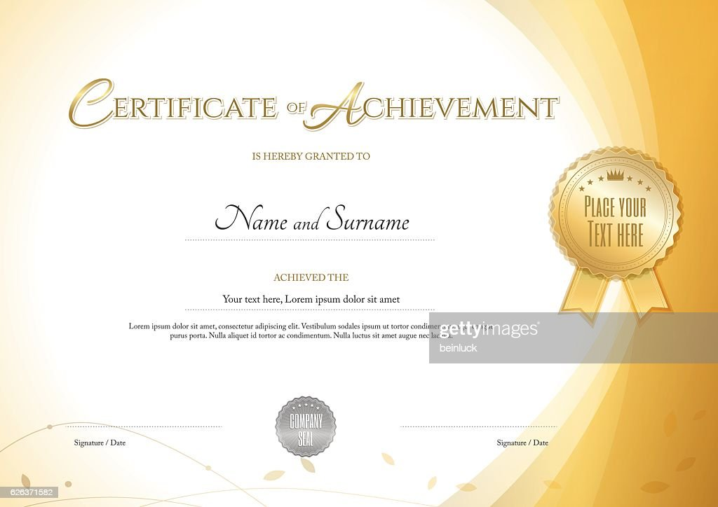 Certificate of achievement template with environment theme gold color