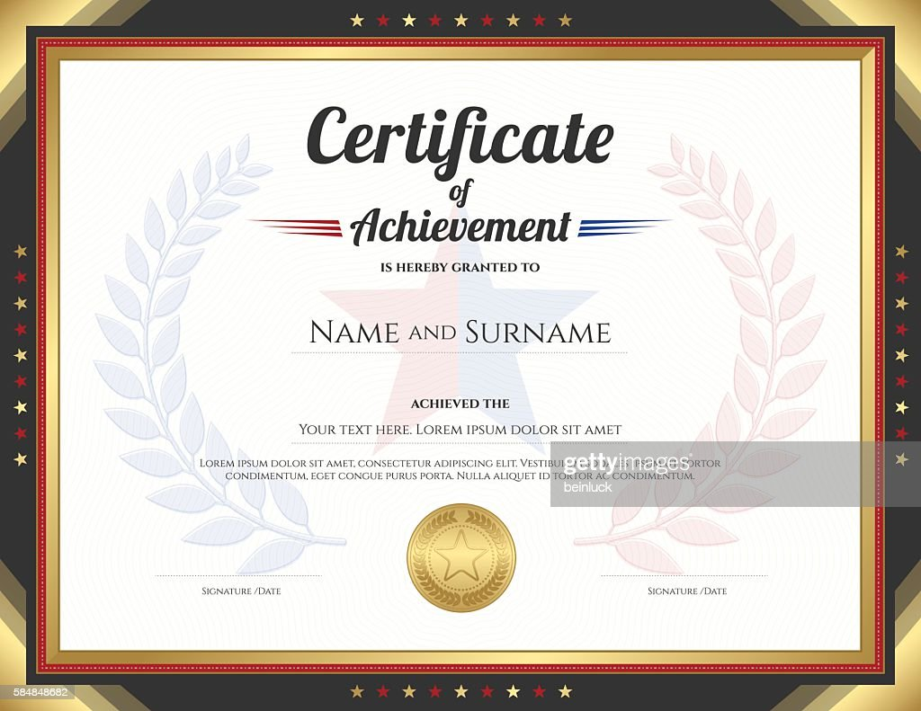 Certificate of achievement template with gold border theme