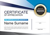 Certificate of appreciation award template clean and modern for diploma,
