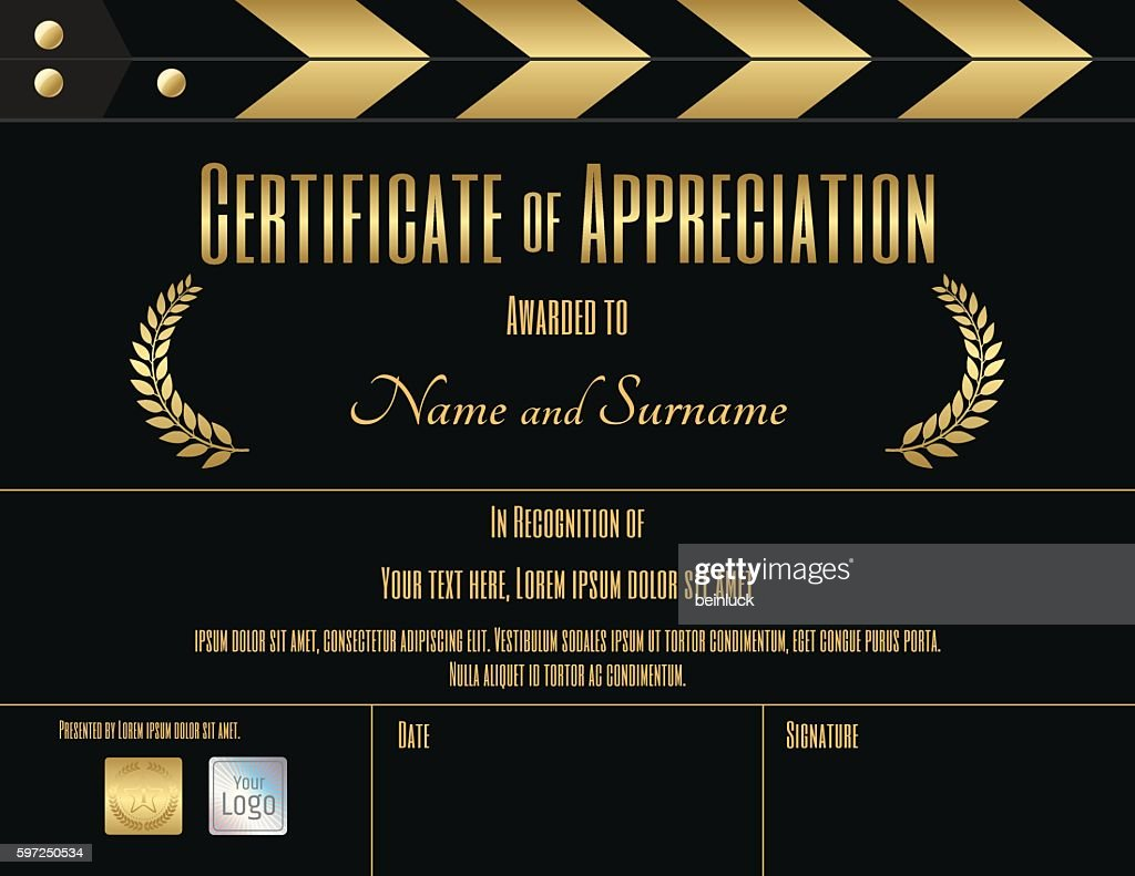 Certificate of appreciation template in movie film theme