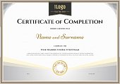 Certificate of completion template in vector for achievement gra