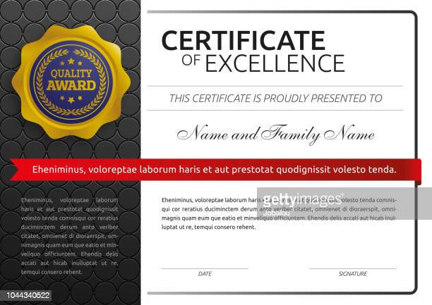 certificate of excellence classic - certificate stock illustrations