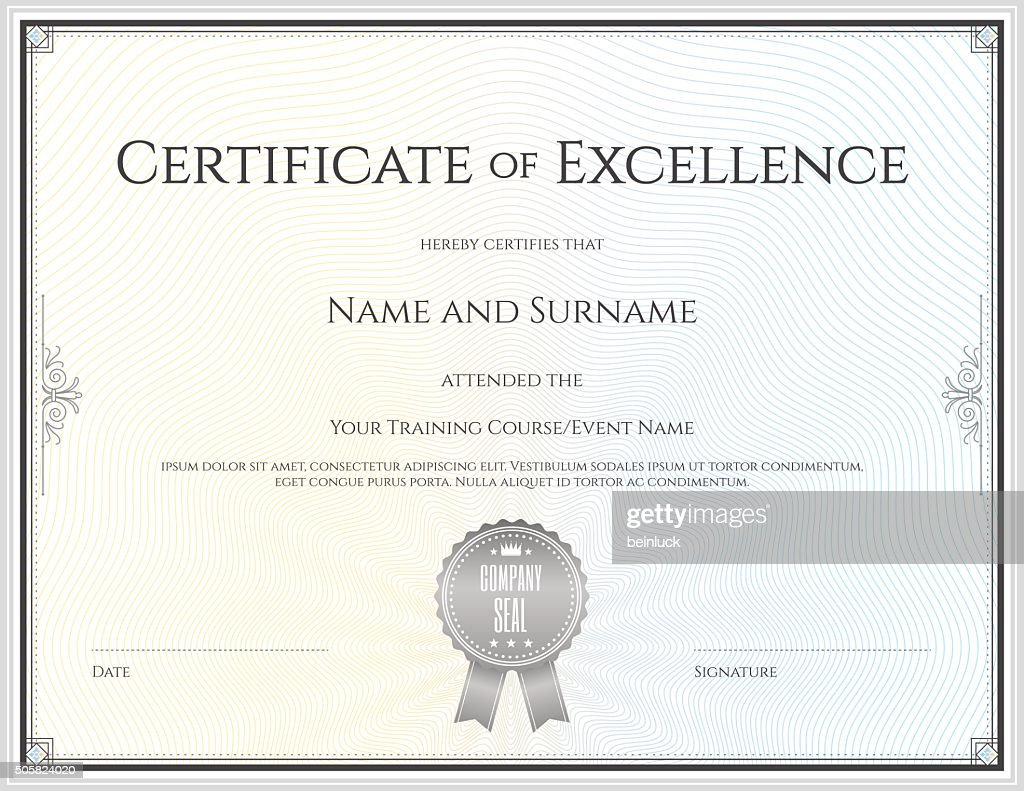 Certificate of excellence template in vector