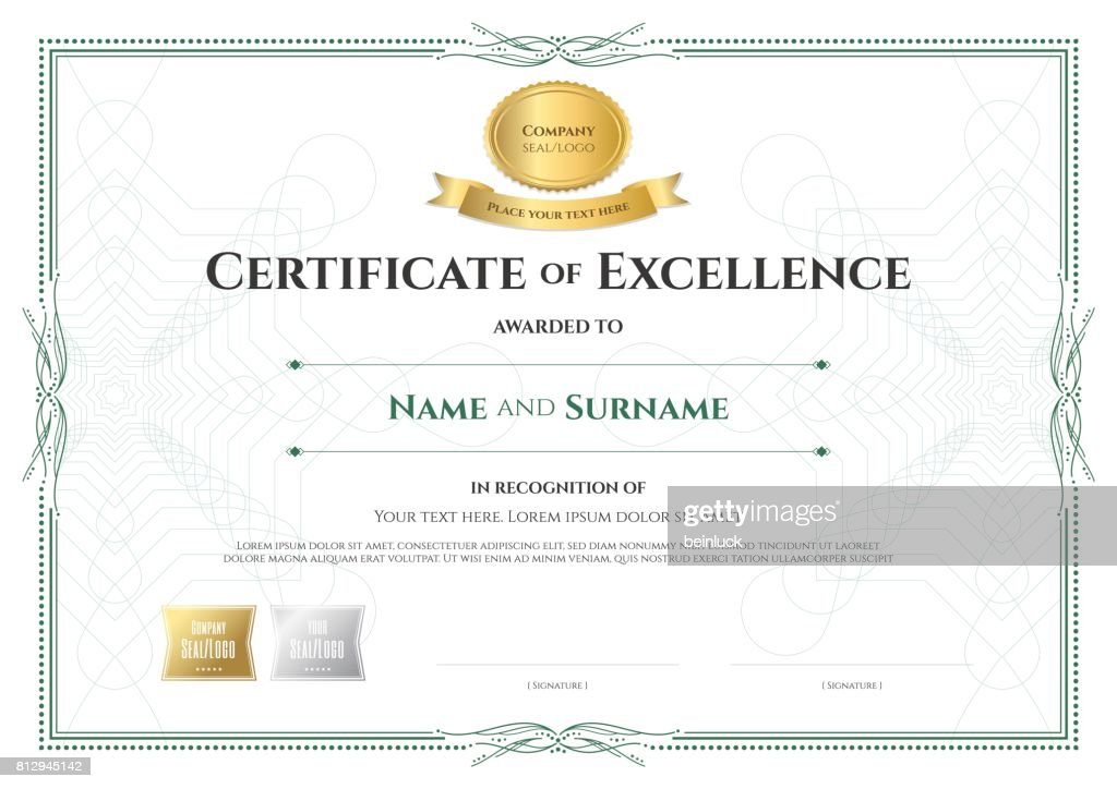 certificate of excellence template with award ribbon vintage border