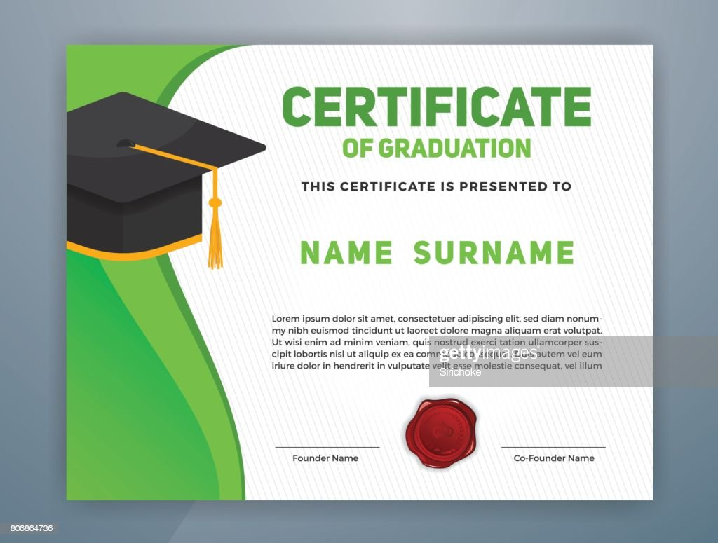 Certificate of graduation design template vector art getty images certificate of graduation design template vector art xflitez Images